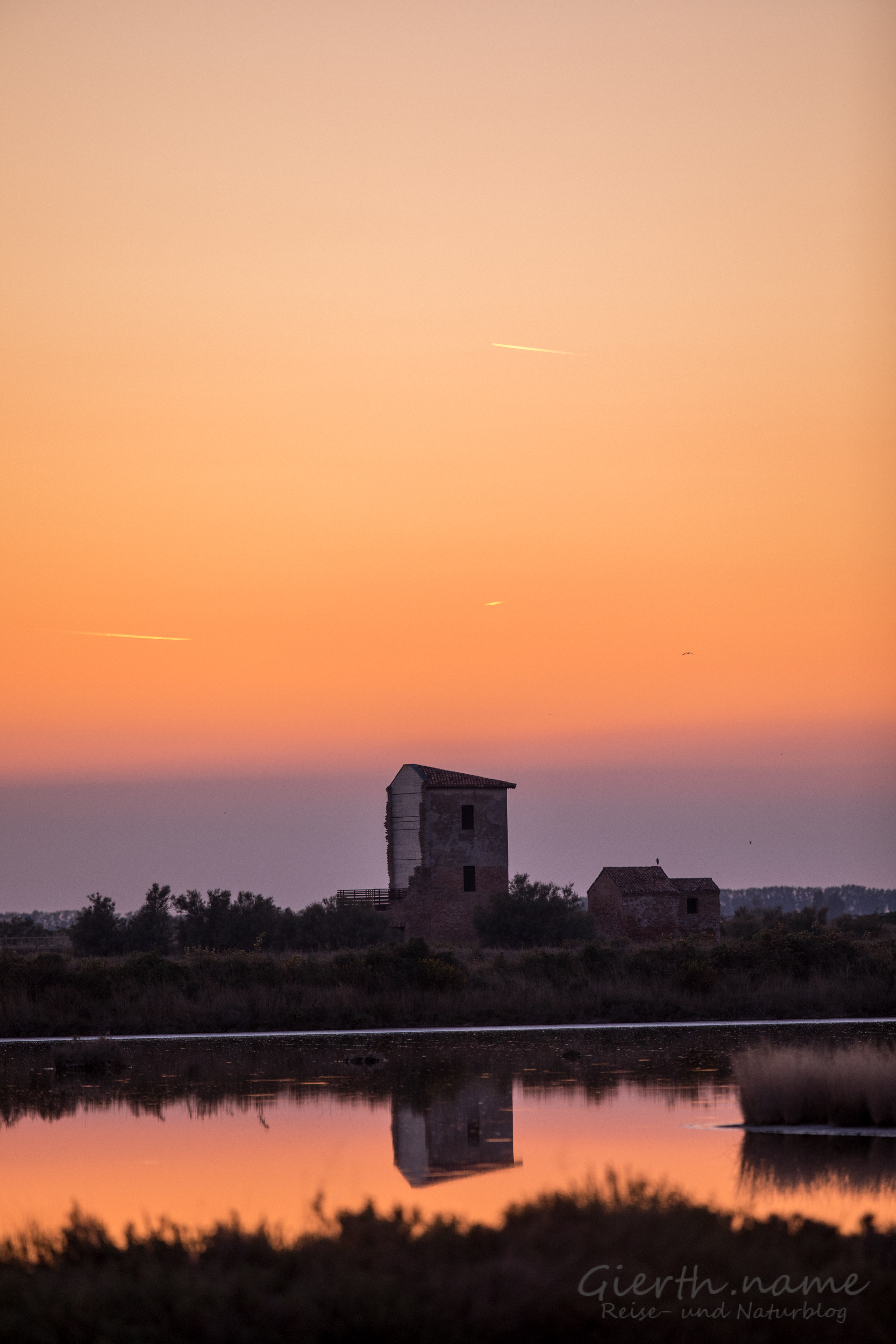 Sonnenuntergang an der Lagune von Comacchio
