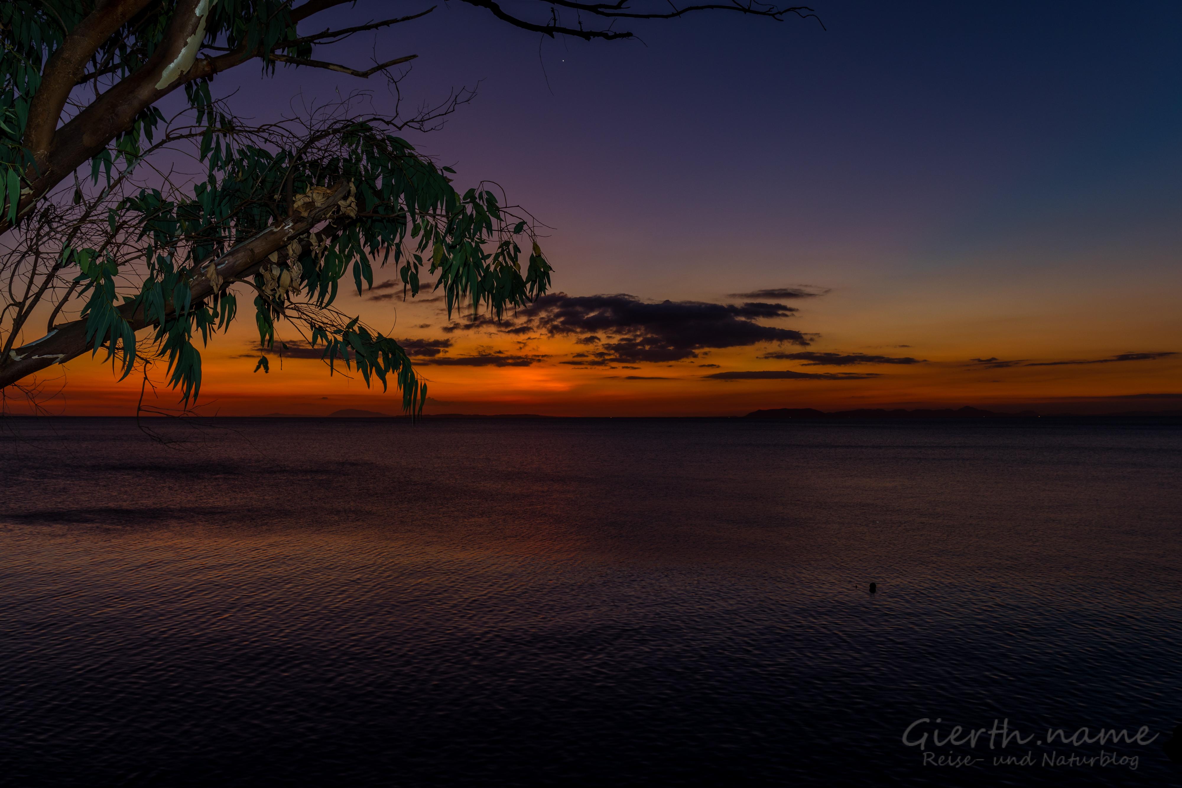 Sonnenuntergang von unsrem Balkon im Club Ocellaris gesehen