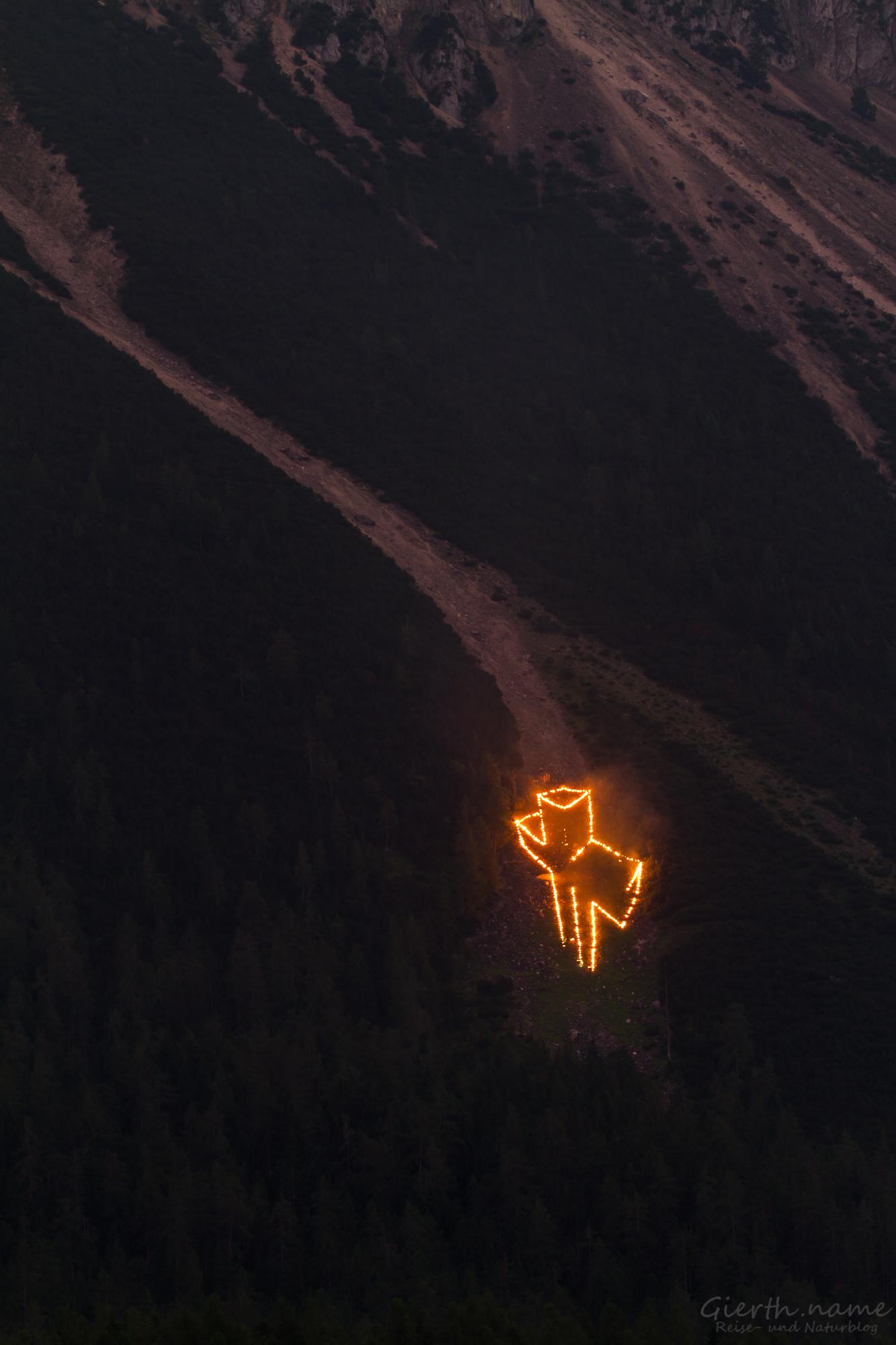 3D-Kreuz bei den Bergfeuern 2017